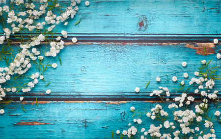 Photo pour White flowers composition on blue vintage wooden background with copy space. Flat lay style, top view, minimal style. - image libre de droit