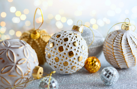 Foto de Christmas background with silver and gold vintage baubles - Imagen libre de derechos