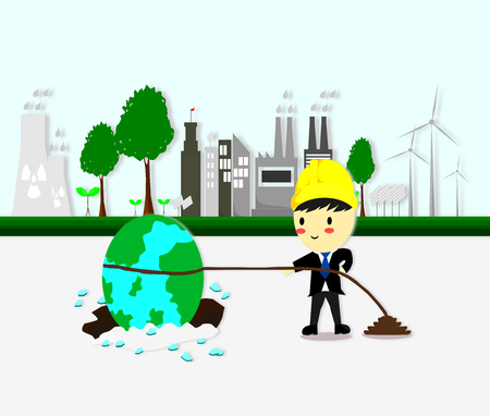 Ilustración de environmental engineer tries to pull the earth out of hole, Ecology concept,save world,Cartoon style, World environment and sustainable development,Vector illustration. - Imagen libre de derechos