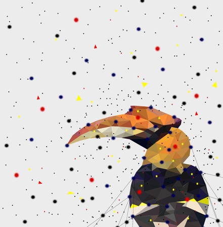 Illustration pour Abstract of Low poly hornbill bird with point connecting network,animal geometric concept,vector. - image libre de droit