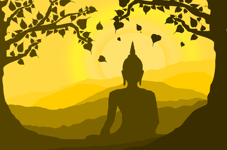 Ilustración de buddha statue under the Bodhi (Sacred Fig) tree and mountain on sunset background,sunset, silhouette style - Imagen libre de derechos