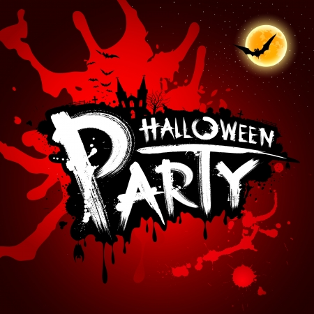 Halloween party red blood background, illustration