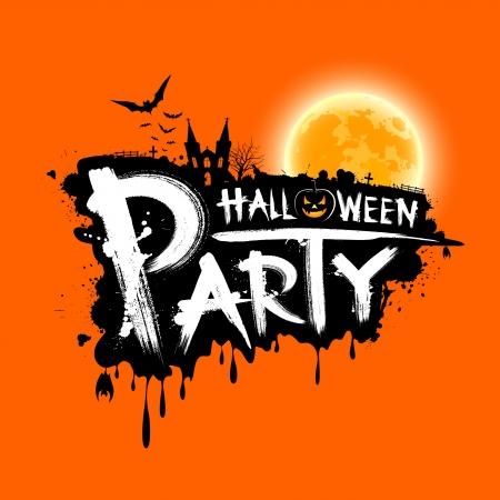 Ilustración de Happy Halloween party text design on orange background - Imagen libre de derechos