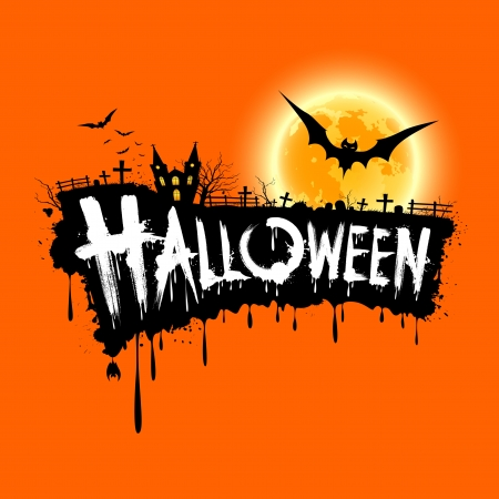 Happy Halloween text design on orange background