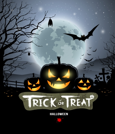Illustration pour Halloween trick or treat pumpkin design - image libre de droit