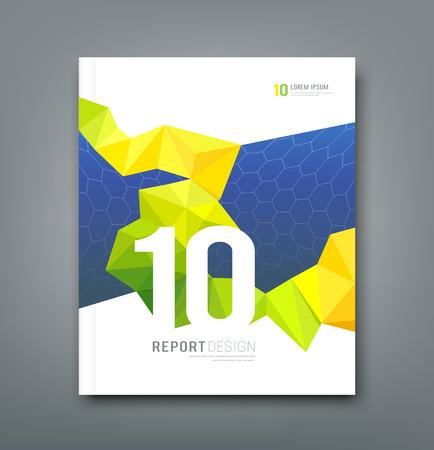 Illustration pour Cover Magazine geometry yellow and green design - image libre de droit