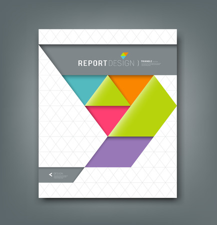 Illustration for Cover report colorful origami paper triangle background - Royalty Free Image