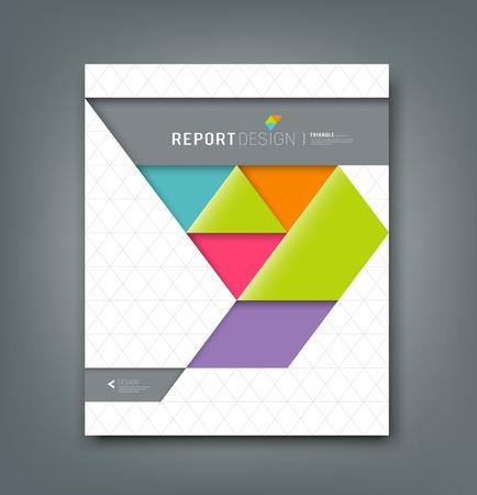 Illustration pour Cover report colorful origami paper triangle background - image libre de droit