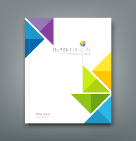 Illustration for Cover Annual report, colorful windmill paper origami design - Royalty Free Image