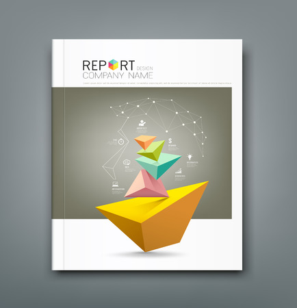 Illustration pour Cover Annual Report triangle connection head and business icons - image libre de droit