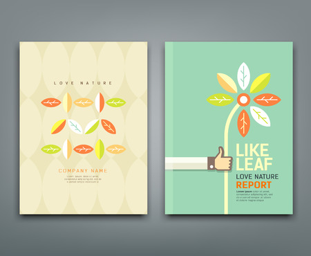 Illustration pour Cover annual report colorful leaf with flower in hand - image libre de droit
