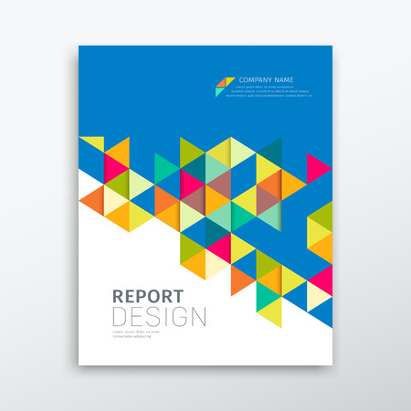Photo pour Cover annual report colorful triangles geometric design - image libre de droit