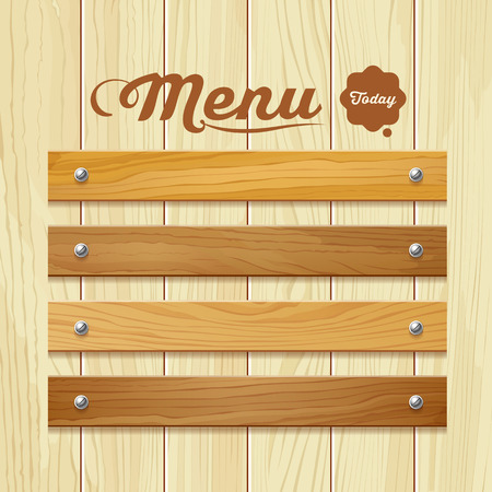 Illustration pour Menu wood board design background vector illustration - image libre de droit
