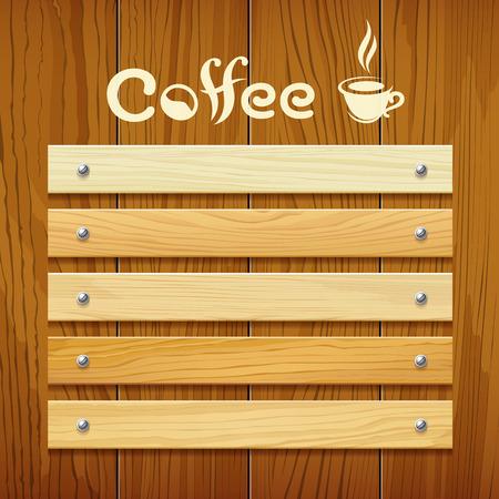 Illustration pour Coffee menu wood board design background - image libre de droit