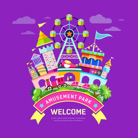 Illustration pour Vector Amusement park flat concept design - image libre de droit