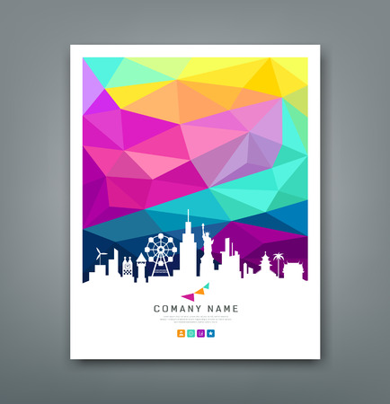 Illustration for Cover report colorful geometric shapes with silhouette - Royalty Free Image