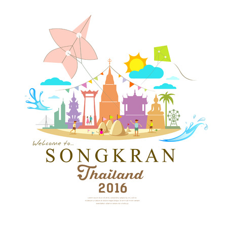 Illustration pour Songkran Festival Period of April in the summer of Thailand with water  design - image libre de droit