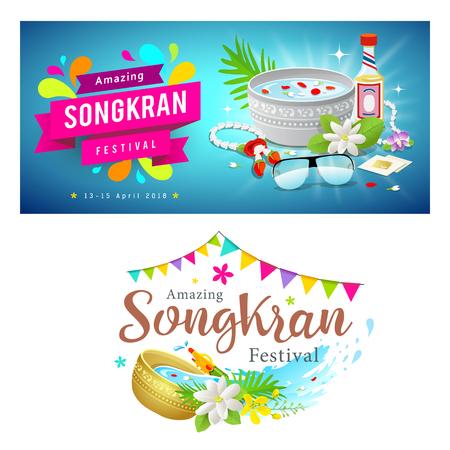 Illustration pour Amazing Thailand Songkran festival banner set, vector illustration - image libre de droit