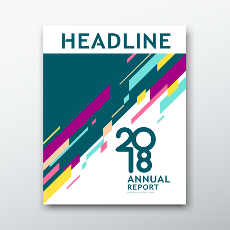 Ilustración de Cover Annual Report Abstract geometric colorful on white book background, vector illustration - Imagen libre de derechos
