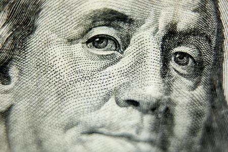 Foto de Macro close up of the US 100 dollar bill. Extreme macro. Shallow dof - Imagen libre de derechos