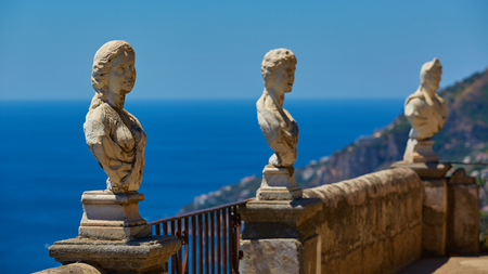 Photo for Scenic picture-postcard view of famous Amalfi Coast with Gulf of Salerno from Villa Cimbrone gardens in Ravello, Naples, Italy - Royalty Free Image