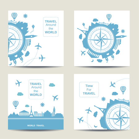 Ilustración de Set of four travel card templates. Square cards. Famouse places. Travel around the world vector illustration. Travelling by plane, airplane trip in various country. Flat icon modern design style poster. Travel banner. Travel agency round icon. - Imagen libre de derechos