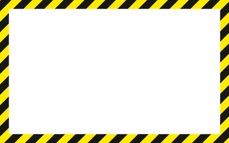 Illustration pour warning striped rectangular background, yellow and black stripes on the diagonal, warning to be careful potential danger vector template sign border yellow and black color Construction warning border. - image libre de droit