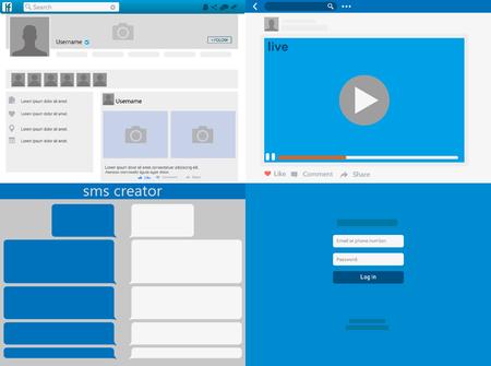 Ilustración de Social network Mock up, post frames and other pages, Web page browser, concept of Social Page Interface on the laptop vector illustration. - Imagen libre de derechos