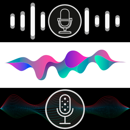 Ilustración de Personal assistant and voice recognition concept flat vector illustration of sound symbol intelligent technologies. - Imagen libre de derechos