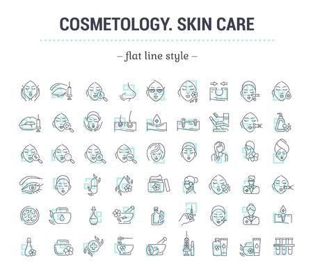Illustration pour Vector graphic set.Icons in flat, contour,thin and linear design.Cosmetology. Skin care.Simple isolated icons.Concept illustration for Web site app.Sign,symbol,element. - image libre de droit