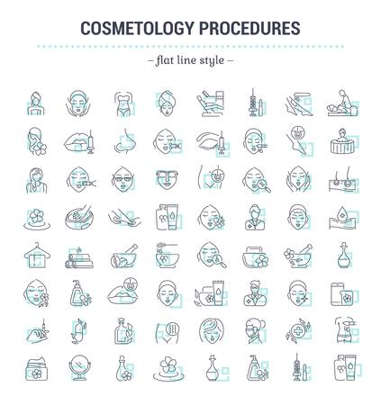 Illustration pour Vector graphic set.Icons in flat, contour,thin and linear design.Cosmetology Clinic. Services, procedures, treatments.Simple isolated icons.Concept illustration for Web site app.Sign,symbol,element. - image libre de droit