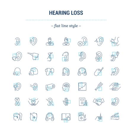Illustration pour Vector graphic set. Icons in flat, contour,thin, minimal and linear design.Hearing loss. People with disabilities. Simple isolated icons.Concept of web site and app.Sign,symbol, elements. - image libre de droit
