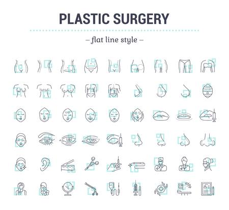 Illustration pour Vector graphic set.Icons in flat, contour,thin, minimal and linear design.Plastic surgery. Set of silhouette.Simple isolated icons.Concept illustration for Web site app.Sign,symbol,element. - image libre de droit