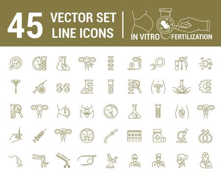Illustration pour Vector graphic set. Silhouette, icon. Artificial insemination, bioengineering, biotechnology. Birth of embryo in linear, flat, contour, thin design. App, Web site template, infographic. - image libre de droit