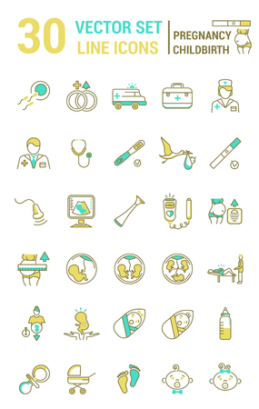Ilustración de Set of icons in linear style on the subject of pregnancy and childbirth. Collection of silhouettes of people and attributes on the subject of childbearing. - Imagen libre de derechos