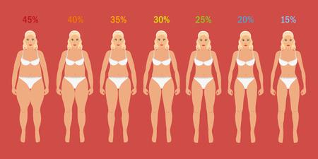 Illustrazione per Stages of woman slim with fat percent - Immagini Royalty Free