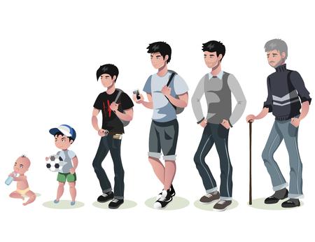 Ilustración de Cycle of life for men. From baby to senior. - Imagen libre de derechos