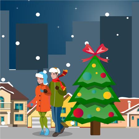 Illustration pour Couple winter city landscape. - image libre de droit