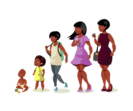 Illustration for Set of black girls from newborn to infant toddler school girl - Royalty Free Image