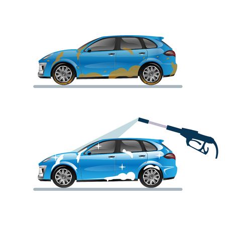 Ilustración de Dirty and clean car. vector flat illustration - Imagen libre de derechos