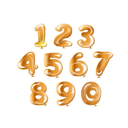 Illustration pour Golden number set balloon. - image libre de droit