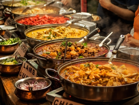 Oriental food - Indian takeaway at a London s market