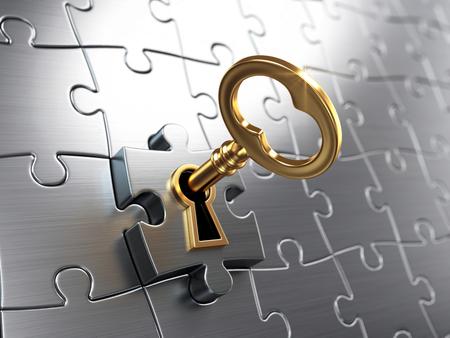 Foto de Golden key and puzzle - Imagen libre de derechos