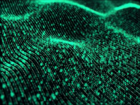 Photo pour Waves of digital information concept - binare code background - image libre de droit
