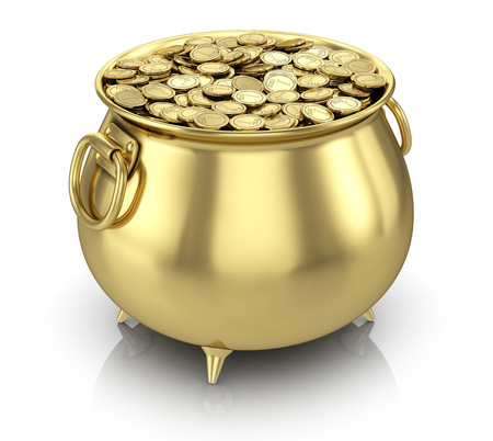 Photo pour Pot of gold coins isolated on white - image libre de droit