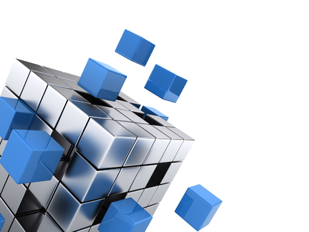 Foto de teamwork business concept - cube assembling from blocks - Imagen libre de derechos