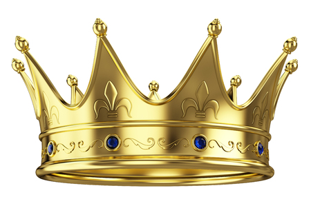 Photo pour Gold crown isolated on white background - image libre de droit