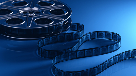 Photo for Film reel with filmstrip - Royalty Free Image