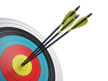 Foto de Arrows hitting the center of target - success business concept - Imagen libre de derechos