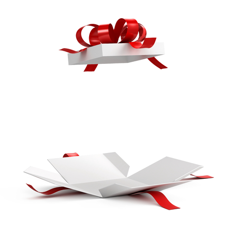 Foto de Open gift box with red ribbon on white background - Imagen libre de derechos